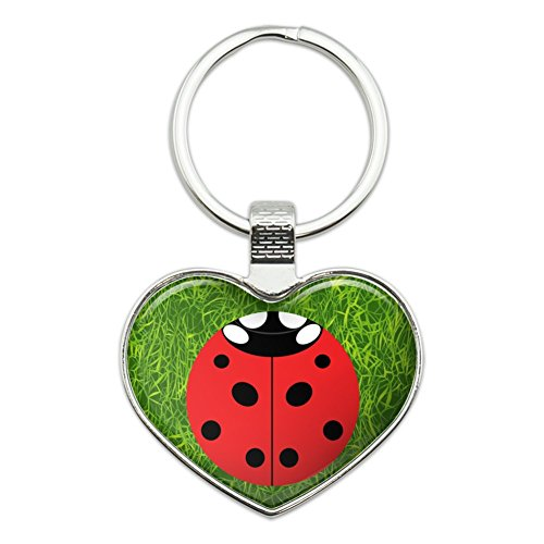 - Lady Bug Ladybug Insect Heart Love Metal Keychain Key Chain Ring