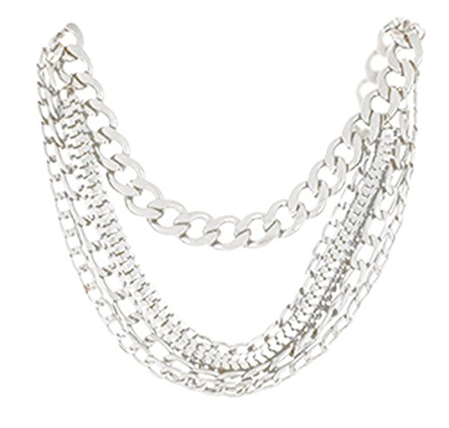 Silvertone Shoe Chain with Dangling Cuban and Snake Chains