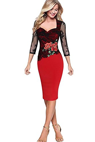 Red Lace Womens Business Dresses 3/4 Sleeve Pencil Dress Knee Length-M