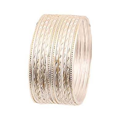 Discount Touchstone Colorful Dozen Bangle Collection Superb Laser Cutting Textured Vanilla White Color Golden Glaze Slimline Indian Bollywood Designer Jewelry Metal Bangle Bracelets For Women. Set Of 12. for cheap