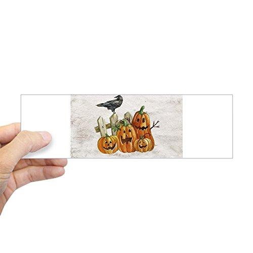 Bumper Sticker Cute Halloween Pumpkins and Crow]()