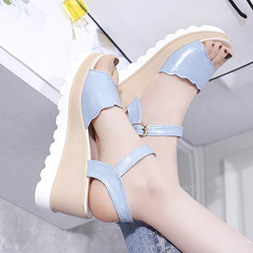 Summer Womens Casual Mid Heel Sandals Wedge Ankle Strap Shoes Buckle Strap Student Beach Shoes (Blue, Size:40=US:7.5) by Tanlo (Image #7)