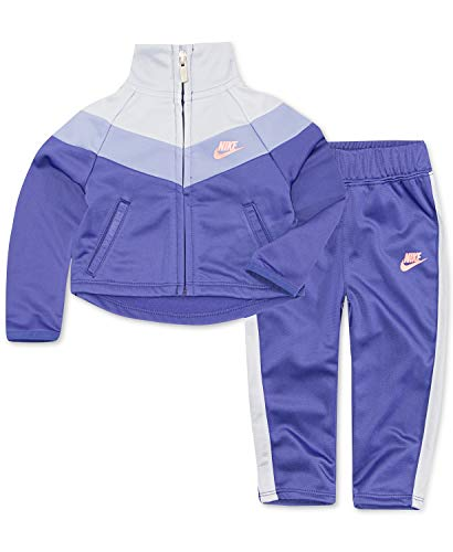 Nike Little Girls` Therma-Fit Full Zip Hoodie & Jogging Pants 2 Piece Set (Dark Purple(3ME156-P4E)/Pink, 6)