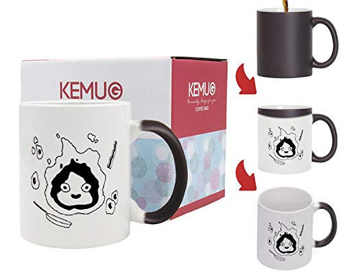 Kemug - Howls Moving Castle; Calcifer Mug; Studio Ghibli Mug; Cute Mug; 11 oz White Ceramic Mug - Heat Color Changing Mug Black