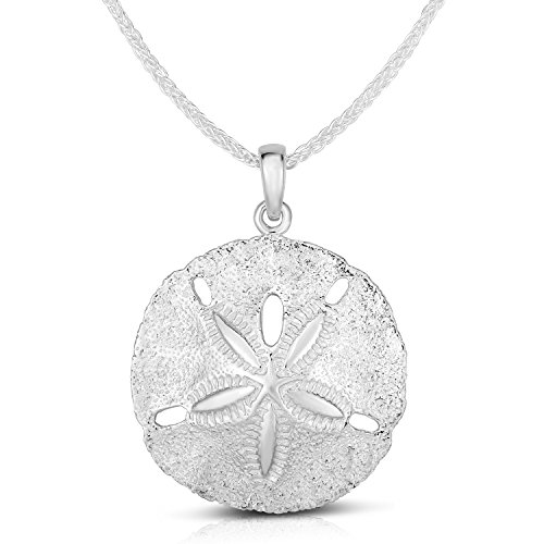 Unique Royal Jewelry 925 Solid Sterling Silver Two Sides Raised Sand Dollar Starfish Pendant and Necklace. (16