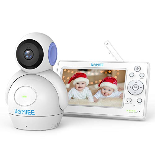 Video Baby Monitor, Upgraded up to 4 Cameras, HOMIEE 5″ Color LCD Display and 1000 Ft Long Range, Night Vision, 5 Lullabies, Two-Way Audio, VOX, Sound/Temperature Alarm, Wall Mounting Capable, Purple