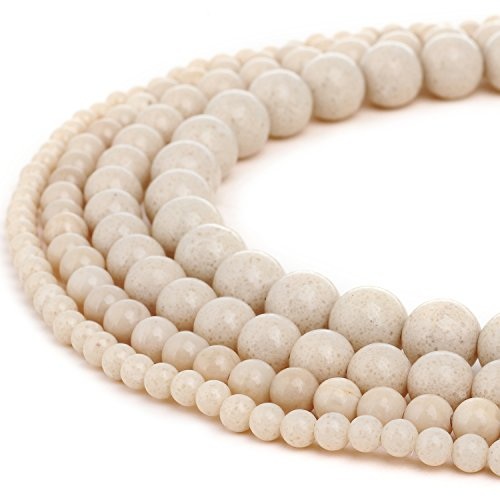 (RUBYCA Natural White Cream Fossil Gemstone Round Loose Beads for Jewelry Making 1 Strand - 10mm)