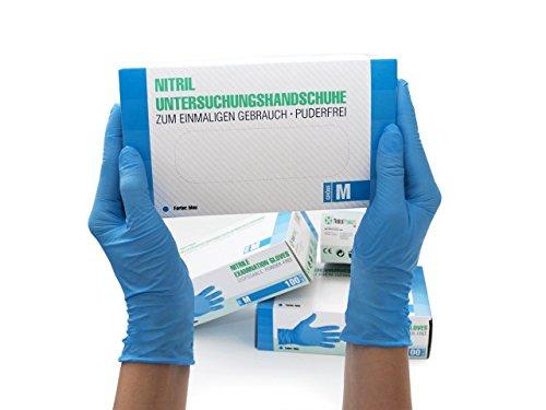 Nitrilhandschuhe 100 Stück Box (M, Blau) Einweghandschuhe, Einmalhandschuhe, Untersuchungshandschuhe, Nitril Handschuhe, puderfrei, ohne Latex, unsteril, latexfrei, disposible gloves, blue, Medium