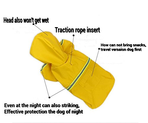 Pet Dogs Rain Jacket Raincoat Adjustable Lightweight Poncho with Reflective Stripe for Small Medium Large Dog Breeds,Puppy Waterproof Clothes,Dog Rain Gear Rainy Days by Riveroy (Image #4)