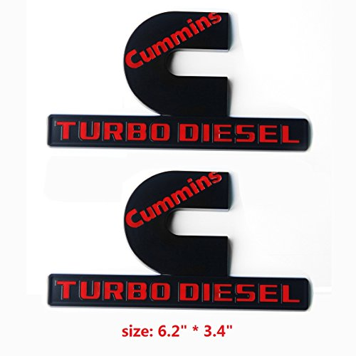 Yoaoo 2X OEM Black Cummins Turbo Diesel Emblem Badges High Output Replacement for Ram 2500 3500 Fender Emblem Matte Red
