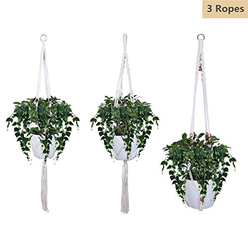 Hofumix Rope Hanging Planter 3 Pattern Macrame Plant Hangers Large & Small Wall Hanging Plant Pot Holders Flower Pot Holder Hanging Basket Rope for Indoor Outdoor Ceiling Garden Balcony Decor