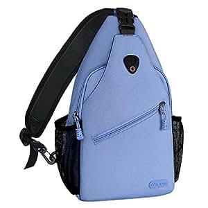 MOSISO Sling Backpack, Polyester Water Repellent Multipurpose Crossbody Shoulder Bag Travel Hiking Daypack, Airy Blue