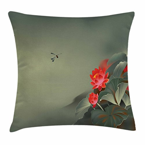 Dragonfly Throw Pillow Cushion Cover by Ambesonne, Traditional Japanese Painting with Lotus Blooms in Hazy Tones Asian Design, Decorative Square Accent Pillow Case, 20 X 20 Inches, Red Reseda Green
