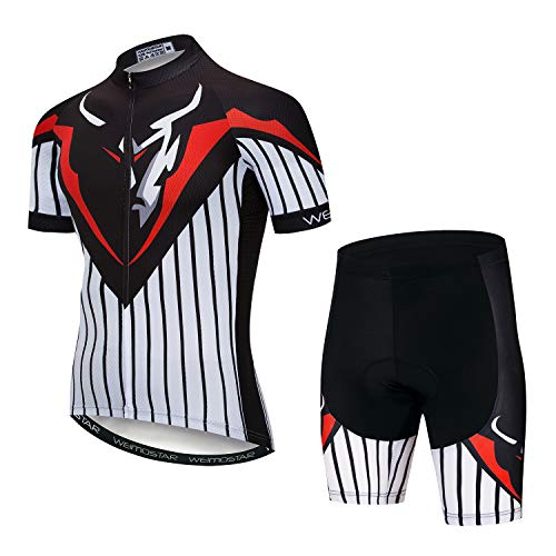 Cycling Jersey and Shorts Set Men Breathable Bike Shirt Summer Youth Stripe XXXL