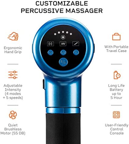 Fusion FX Heated Percussion Massage Gun – Deep Tissue Massager for Muscle Pain Relief, Enhanced Recovery for Athletes & Percussive Therapy – 3 Auto Modes, 5 Powerful Speeds, Handheld Electric Device 41JSNyraeEL