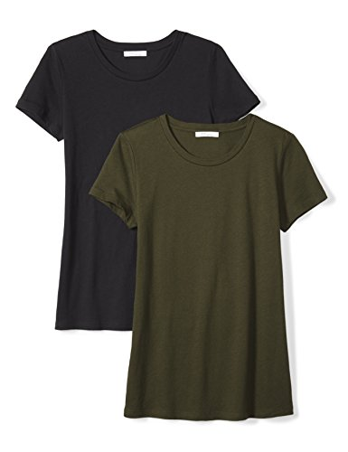 Amazon Brand - Daily Ritual Women's Featherweight Cotton Short-Sleeve Crew Neck T-Shirt, Black/Forest Green, X-Small