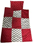 Baby Doll Cuddly Minky Chevron Patch Doll Blanket and Pillow Set, Red