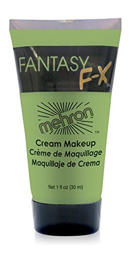 Mehron Makeup Fantasy F/X Water Based Face & Body Paint, GREEN– 1oz Carded (Green Face Makeup)