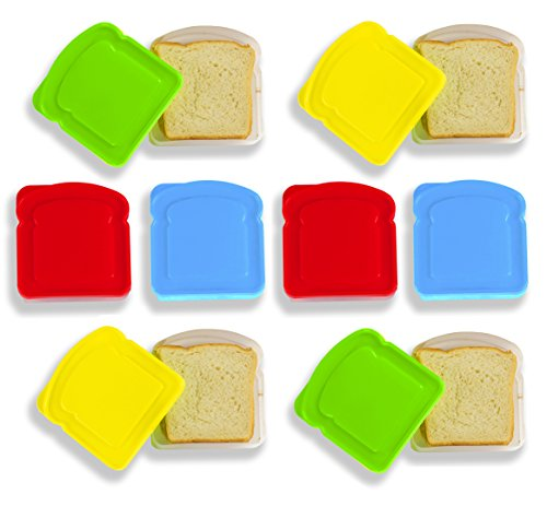 DecorRack Sandwich Container for Lunch Box -BPA Free- Red, Blue, Yellow, Green (8 Pack)