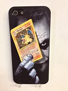 (629bi5) Joker Holding Charizard Pokemon Card iPhone 5 Black Case