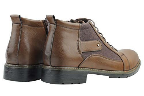 Xposed–Botas de Piel Sintética lienzo Vintage Militar Estilo elegante y Casual con cremallera y cordones zapatos de tobillo marrón
