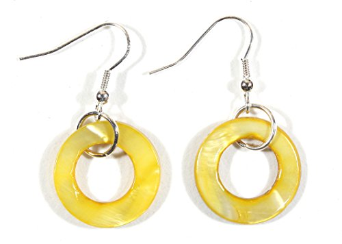 French Earrings Shell Wire - Style-ARThouse Buttercup, Bright Yellow Hoop Shell Earrings on Silvertone French Wires