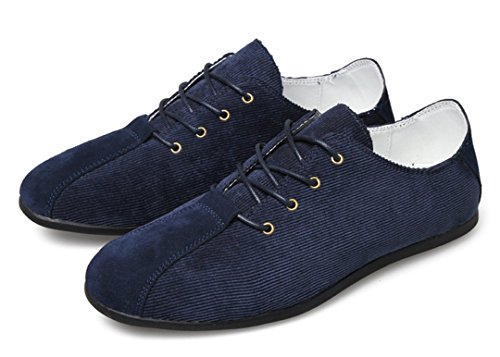 TDA Mens New Fashion Lightweight Lace Up Leather Driving Business Loafers Sneaker Blue w6ca7kul