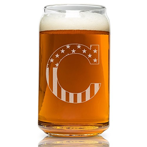 C-Monogram- Engraved Beer Can Glass- USA Flag Design- 16 Ounce Capacity