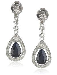 14K White Gold Gemstone and Diamond Drop Earrings