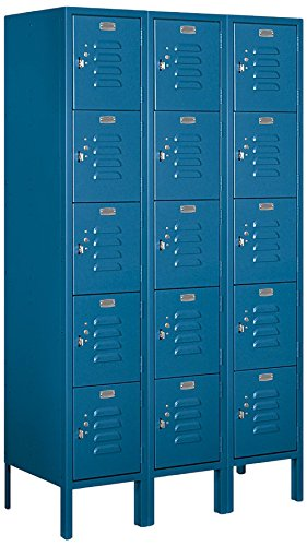 Salsbury Industries 65355BL-U Five Tier Box Style 36-Inch Wide 5-Feet High 15-Inch Deep Unassembled Standard Metal Locker, Blue (15 Inch Wide Lockers)