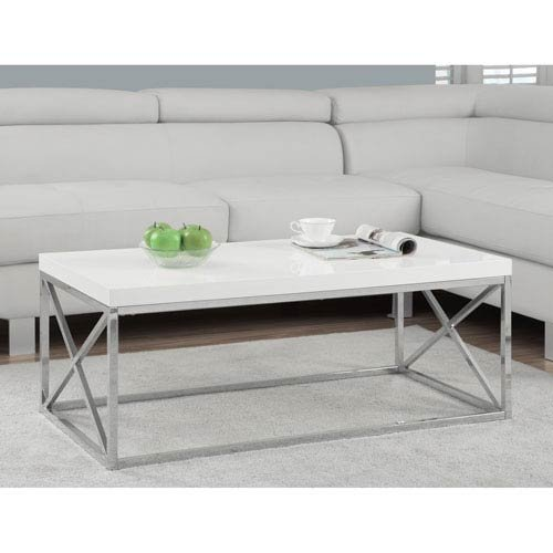 white and chrome coffee table - 9