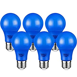 TORCHSTAR LED Blue Light Bulbs, 7W(40W Equivalent) A19 Colored Bulbs with Medium Base, 2-Year Warranty, 30,000hrs Lifespan, for Outdoor Light Fixture, Floor Lamp, Living Room Decoration, Pack of 6