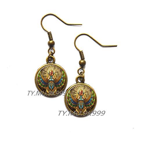 Yao0dianxku , ancient egypt jewelry, Egypt Earrings, Egyptian jewelry, Scarab Earrings, Scarab Jewelry, Historical Stud Earrings.Y112 (1) ()