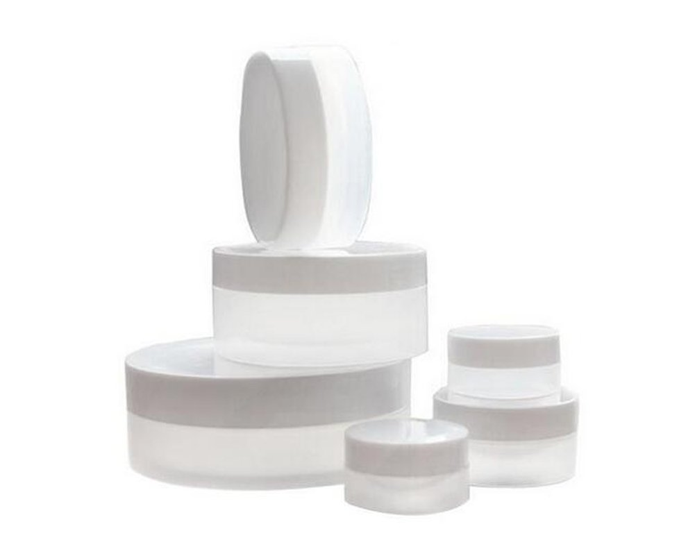 6PCS Empty Travel Portable 3ml/5ml/10ml/30ml/50ml/100ml Refillable Clear Plastic Small Sample Container Jar Pot with White Screw Lid Make up Cosmetic Face Cream Box Bottle (50ml/ 1.7oz) erioctry