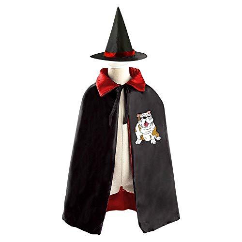 (Halloween Costume Children Cloak Cape Wizard Hat Cosplay English Bulldog For Kids Boys)