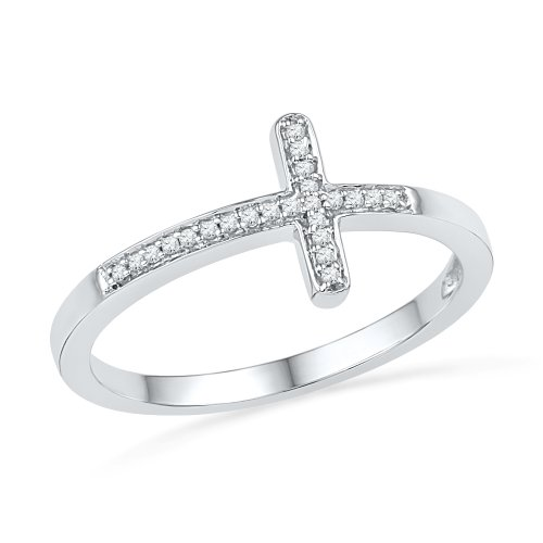 Sterling Silver Round Diamond Cross Ring (0.06 CTTW) ()