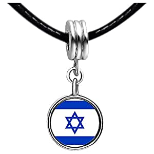Chicforest Silver Plated Israel flag Photo Red Zircon Crystal July Birthstone Flower dangle Charm Beads Fit Pandora Chamilia Biagi Charm Bracelet
