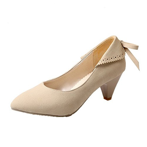 Odomolor Women's Frosted Closed-Toe Kitten-Heels Pull-On Solid Pumps-Shoes, Beige, 33