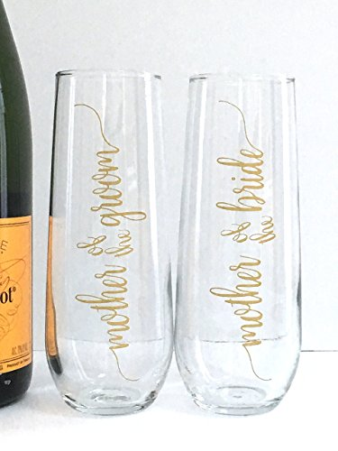 Mother of the Bride and Groom Champagne Flutes - Wedding Toast Glasses - Set of (Wedding Party Glasses)
