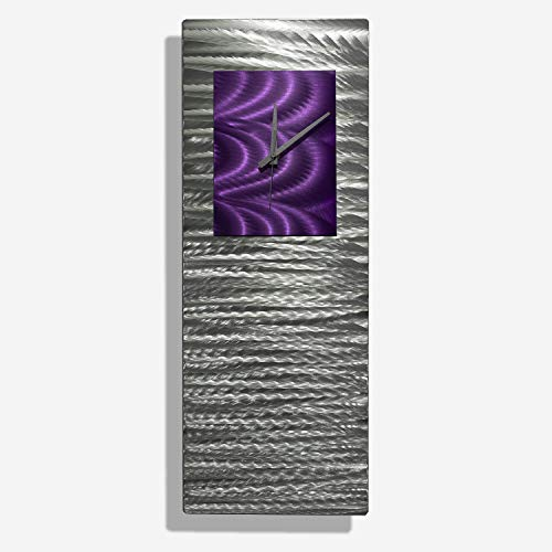 Mesmerizing Etched Silver & Purple Jewel Tone Metallic Abstract Wall Clock - Contemporary Hand-Crafted Time Piece, Home Decor, Modern Functional Metal Wall Art - Purple Radiance Clock - 24-inch