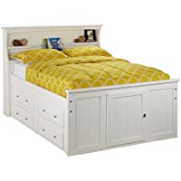 Catalina White Full Bookcase Storage Bed