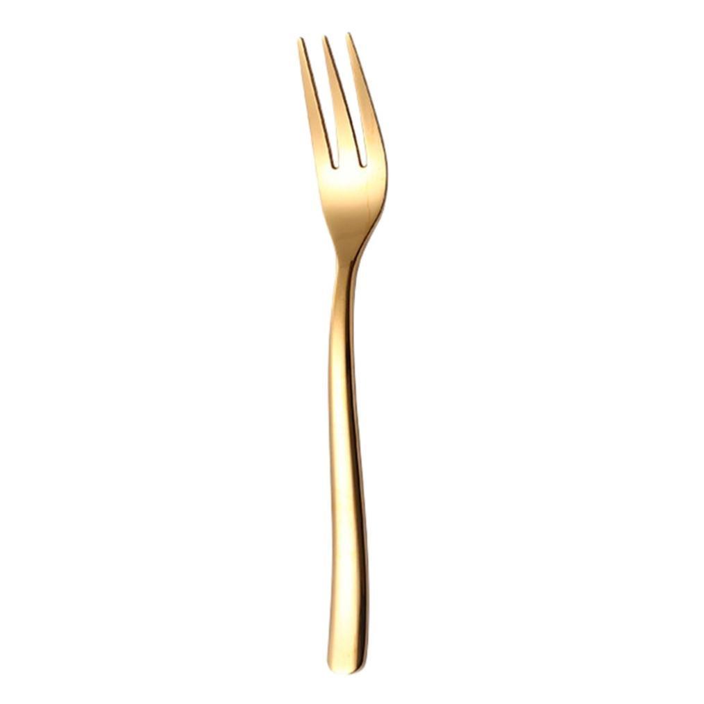 Fork,Sikye Stainless Steel Reusable Fruit Dessert Fork Lenth 16cm (Glod)