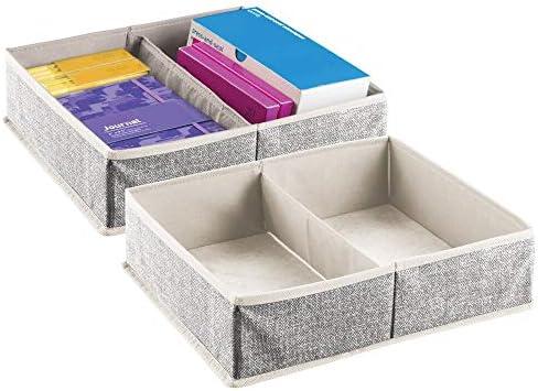 mDesign 2er-Set Schubladen Organizer – Aufbewahrungsbox für Büroutensilien – Schubladeneinsatz mit je 2 Fächern für Stifte, Haftnotizen, Büroklammern etc. – cremefarben/schwarz
