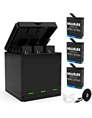 Rechargeable Battery Replacement for GoPro Hero 8 Hero 7 Hero 6 Hero 5 Black 3-Packs 1220mAh Batteries Case Type-C Charger Cord Triple Charger Battery Set Kit Battery Storage Charging Box for Go pro hero 8 black battery Rapid 3-Channel Accessories ( Fully Compatible with Original)