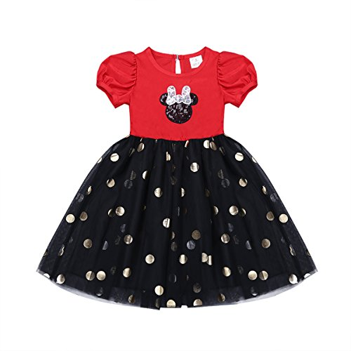 Retro Miss Mouse Costumes (iEFiEL Baby Girls Lace Bow Ears Glitter Polka Dots Costume Party Dress Red&Black 12-18 Months)