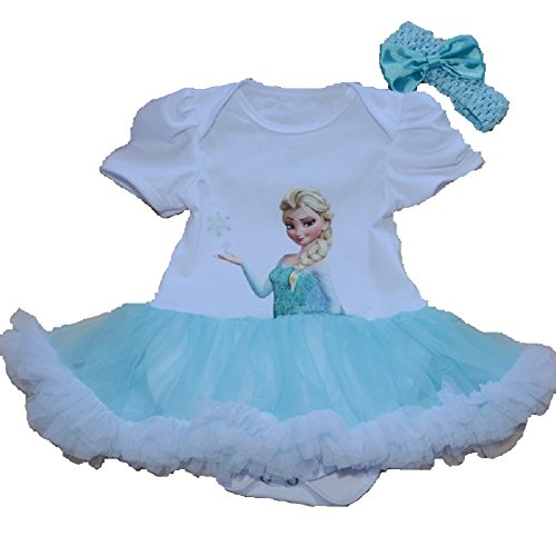 TangB Christmas Costumes 2 pcs clothing sets Romper with Headband White Elsa Princess Small ()