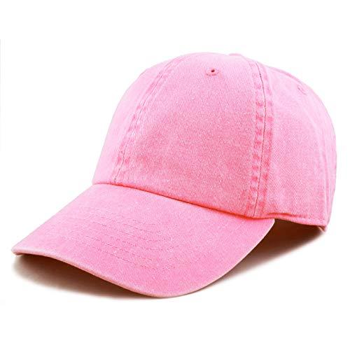 - The Hat Depot 100% Cotton Pigment Dyed Low Profile Six Panel Cap Hat (Pink)