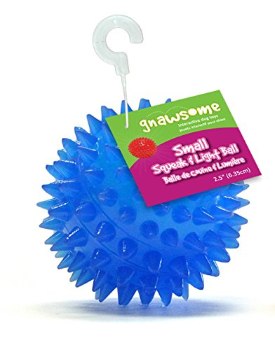 Gnawsome Squeak and Light Ball for Dogs, Small 2.5″, Colors will vary