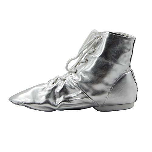 MSMAX PU Women's Jazz Dance Boots Silver/Gold