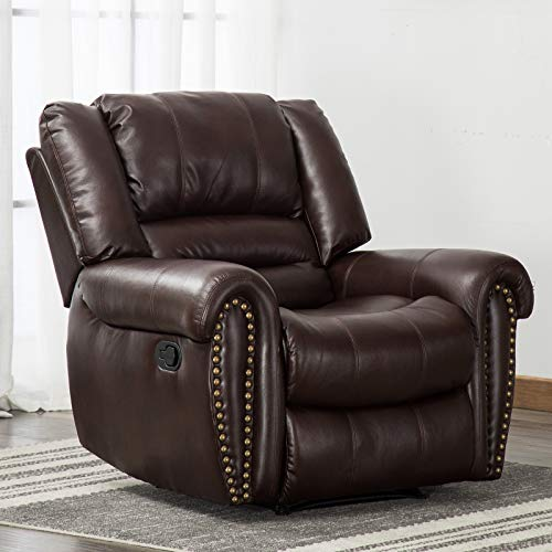 ANJ Leather Recliner Chair Breathable Bonded, Classic and Traditional 1 Seat Sofa Manual Recliner Chair with Overstuffed Arms and Back, Dark Brown